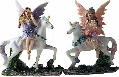 Set of 2 Pink Lilac Fairy Riding White Unicorn Figurines Ornaments