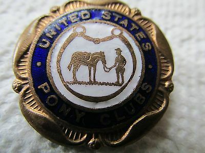 Antique Victorian/Edwardian Signed Great Enamel & Gilt Brass US Pony Clubs Pin