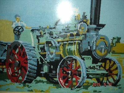 Stunning Needlepoint Completed Canvas, Steam Locomotive