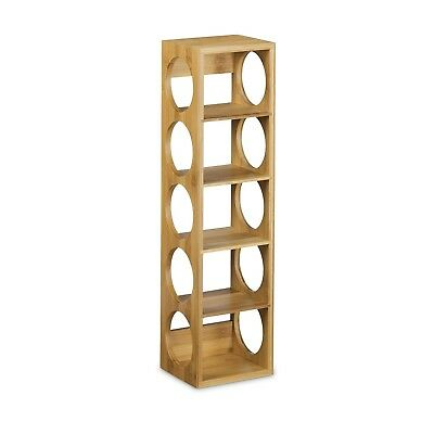 Relaxdays Bamboo Wine Rack Size 53 x 14 x 12 cm, Bottle Holder with 5 Levels