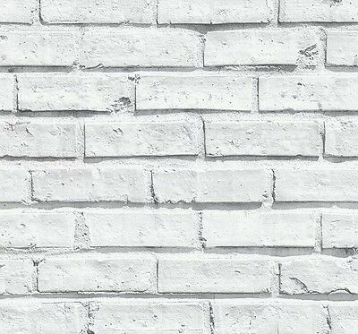 4 X Arthouse VIP White Brick Wall Textured Pattern Wallpaper -  623004