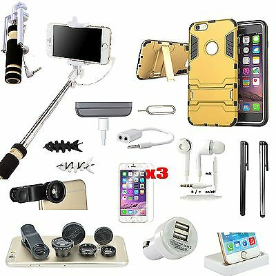 Kickstand Case Charger Selfie Stick Monopod Fish Eye Pack For iPhone 6 6S Plus