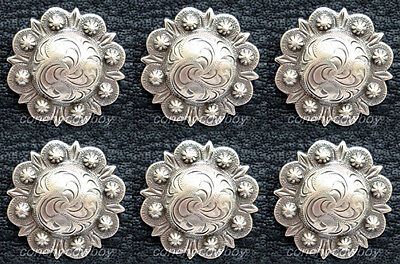 "Set of 6 WESTERN HEADSTALL SADDLE ANTIQUE BERRY CONCHO 1-1/4"" screw back"