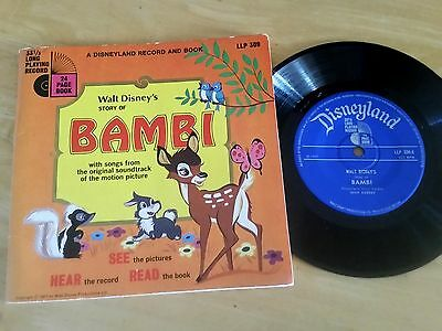 """Walt Disney's """"the Story Of Bambi """" 7"""" Single And 24 Page Book (1967) Llp 309"""