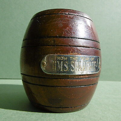 RARE 'Ship of the line' Antique MATCH/SPILL POT Barrel TIMBERS 'H.M.S.Spartiate'