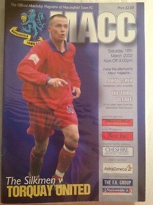 Macclesfield Town v Torquay United, Division 3, 2002