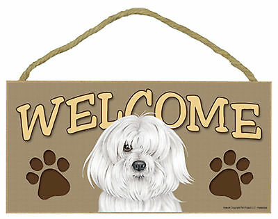 Havanese Welcome with Paw Prints Wood Puppy Dog Sign Plaque Made in USA