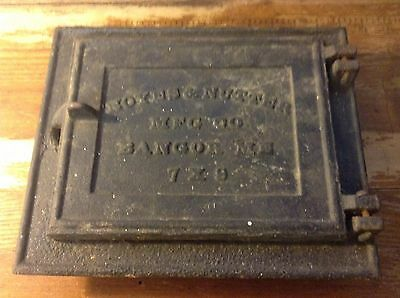 Vintage Cast Iron Stove Door Noyes & Nutter MFG CO Bangor Maine 7x9  steam punk