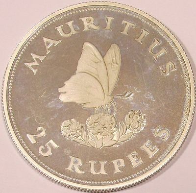 1975 Mauritius Sterling Silver 25 Rupees - Conservation - Butterfly - KM# 40a