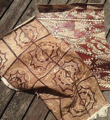 2 Decorated Vintage Tapa Cloths ~ Tree Bark ~ Polynesian Islands Folk Art