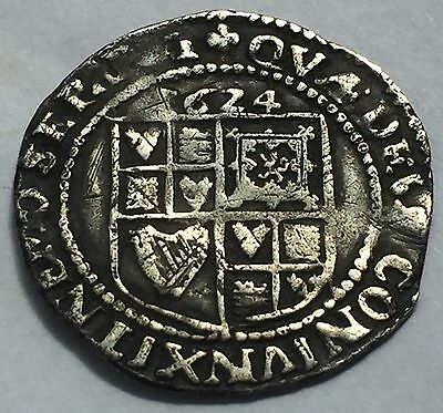 James I Hammered 1624 6d Sixpence, James 1st British Silver Coin.