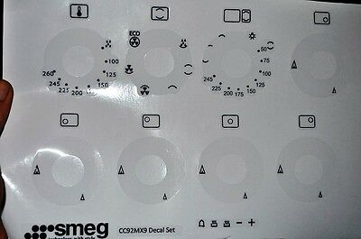 Smeg CC92MX9 range oven facia stickers,decals clear vinyl, may fit others.