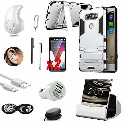Case Cover+Dock Charger+Bluetooth Headset Headphone Accessory Bundle For LG V20