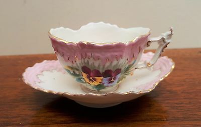 Sweet & Very Pretty Miniature/Childs Victorian Teacup/Saucer Pink & Pansies VGC