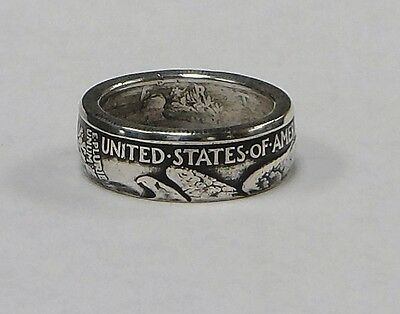"Coin ring ""Handmade"" from WALKING LIBERTY  Silver  Half Dollar in sizes 9-14"