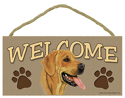 Rhodesian Ridgeback Welcome with Paw Prints Wood Puppy Dog Sign Plaque USA Made