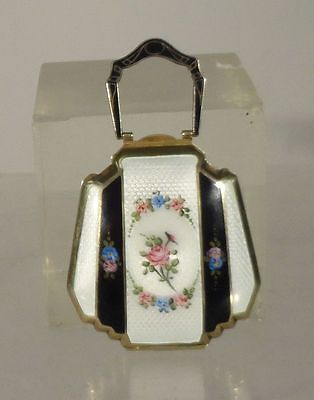 Antique Fine Guilloche Enamel Compact Makeup Gilt Silver Purse