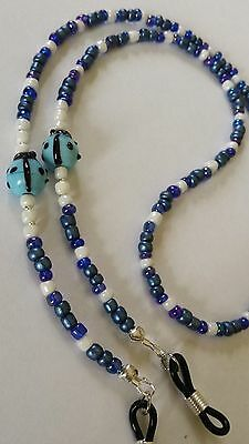 """LADYBUGS IN LAMPWORK GLASS/ BLUES/26"""" eyeglass cord.NEVER MISPLACE YOUR GLASSES"""