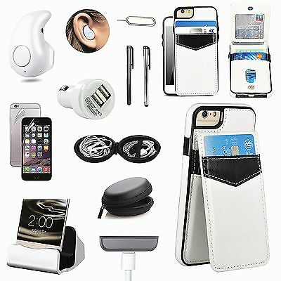 White Leather Case Charger Wireless Earphone Headset Accessory For iPhone 7