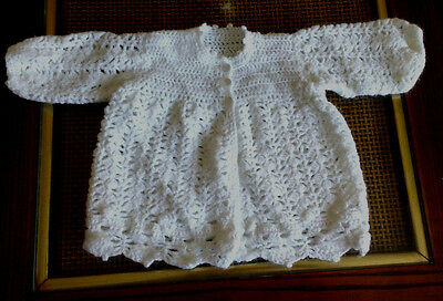 Hand Knit Crocheted Baby's White Cardigan Lacy Design Sweater 3-6M NEW