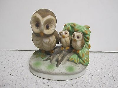 Owl And Babies Or Owlets Ceramic Figurine By Ccug Very Cute!