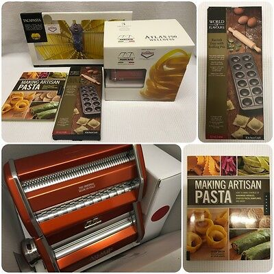 MARCATO ATLAS 150 Wellness Pasta Machine - RED. TACAPASTA Rack. Tray And Book.