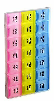 21 Compartment Pill Organizer Box Medicine Reminder Snap Lids 7-day Tablet Case