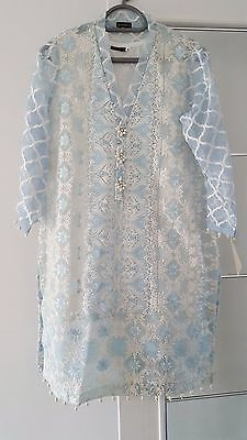New with Tags Ice Blue Embroidered Medium Kurta With Lining By Agha Noor