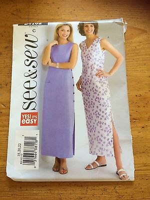 Butterick See & Sew sewing pattern Dress 2  neck opt New & Uncut 3945 size 18-22