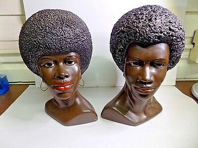 """RARE Marwal """"BLACK is BEAUTIFUL"""" 1960s Chalkware Bust Sculpture"""