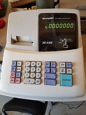 Sharp XE-A102 Electronic Cash Register Has All 4 Keys & Manual 4 Parts or repair