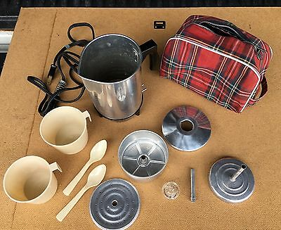 Vintage Cornwall 225 4 Cup Travel Electric Percolator Coffee Pot Red Plaid Bag