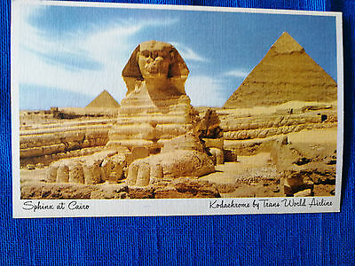 TWA Postcard of Sphinx in Cairo, issued by TWA 1947