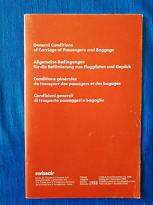 SWISSAIR General Conditions of Carriage / 1988 **interesting document** / 47 p.
