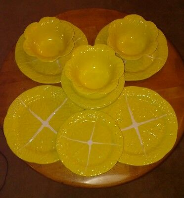 Vtg Secla Portugal 12pc Sunflower Yellow Majolica Cabbage Soup & Salad Set