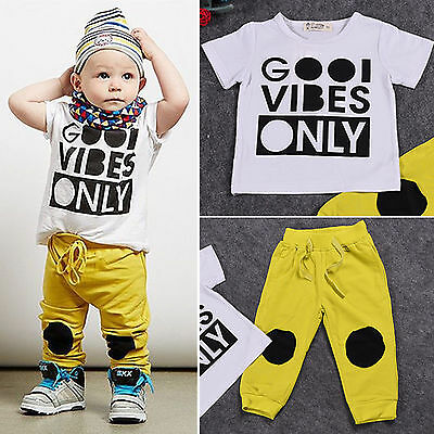 2PCS Toddler Baby Boys Tee Shirt + Pants Trousers Outfits Set Tracksuit Clothes