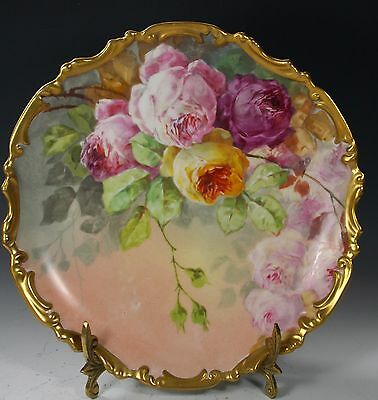 "11.5""  Limoges France  Plate Gold Trim Roses ARTIST SIGNED"