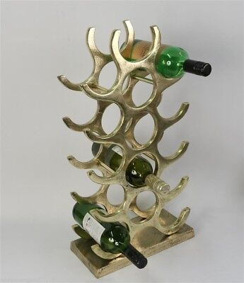 Aluminium Wine Rack 15 Bottle Stand 55.5cm Gold/Brass Industrial Finish