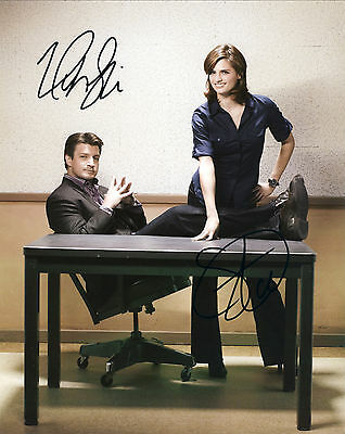 Castle TV Series Hand Signed Stana Katic & Nathan Fillion 10x8
