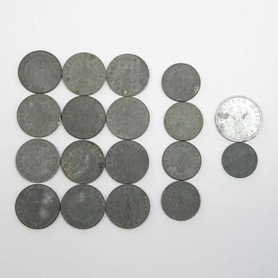 Lot of 18 World War II Era Swastika Reichsmark Reichspfennig Coins: 1, 5, 10, 50