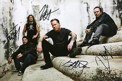 """Metallica Hand Signed By Band """"World Tour"""" Promotional 11x7 !"""