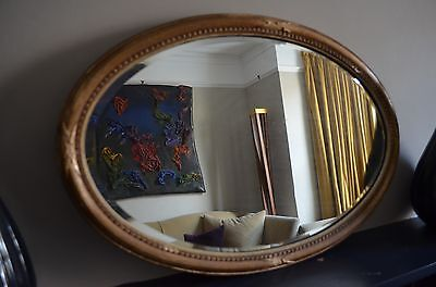 "Antique mirror gold gilt oval mirror Gesso framed mirror 28"" x 18.5"""