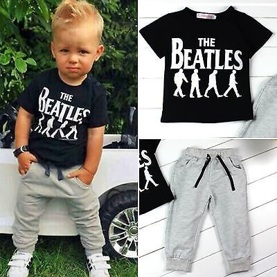 2PCS Toddler Kids Baby Boys Summer Clothes T-shirt Tops+Pants Outfits Cotton Set