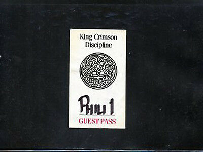 King Crimson 1981 - backstage guest pass