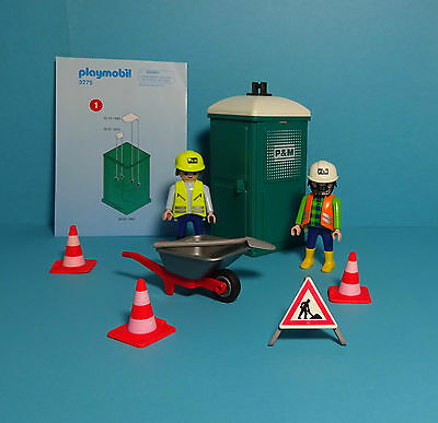Playmobil Baustelle/Construction~Mobile Toilette & Bautrupp/Toilet(3275)& Manual