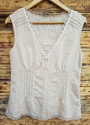 women's next summer top blouse 12 uk nude lace