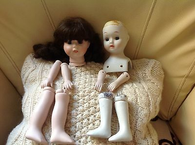 DOLL MAKING PARTS - PORCELAIN DOLL  2 complete sets - SPARES  - REPAIR
