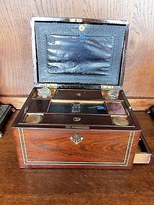 19th Century Rosewood fitted Writing Box with secret Drawer  compartment