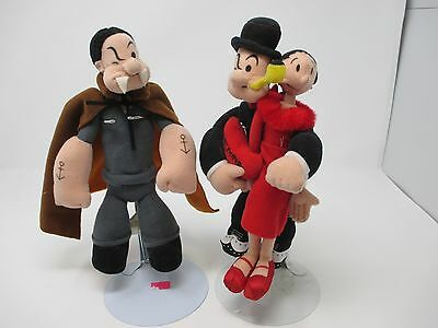 """2003 Popeye Vampire and Popeye with Olive Oil 9"""" Collector Plush Dolls"""
