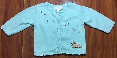 JANIE And JACK Girls Infant Mint 100% Cotton Button Up Sweater Sz 3-6 Months